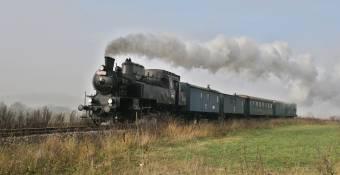 Parní lokomotiva 423.0145 v čele zvláštního vlaku u Doubí u Turnova dne 26.10.2008. Foto Miloslav Nečas (35)