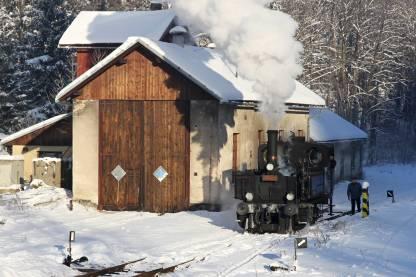 Parní lokomotiva 310.0134 před výtopnou vRokytnici nad Jizerou dne 8.12.2012. Foto Miloslav Nečas (50)